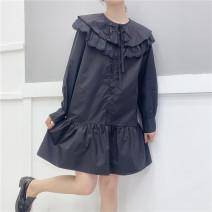 Dress Spring 2021 Black, white, pink Average size Middle-skirt Long sleeves Sweet Shouyi Pavilion 06202k cotton