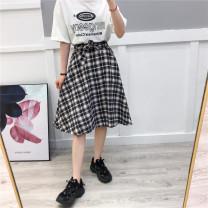 skirt Spring 2021 Average size Black and white Mid length dress A-line skirt lattice Type A 05808k