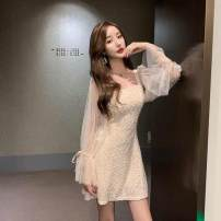 Dress Autumn of 2019 Apricot, black, pink S,M,L,XL Short skirt singleton  Long sleeves square neck High waist Solid color Socket other other Others 18-24 years old Other / other Stitching, nail bead 9.27OP0db