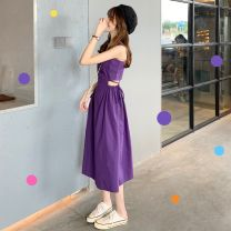 Dress Summer of 2019 Purple skirt, Purple Floral Skirt, purple cardigan Average size longuette singleton  Sleeveless commute other High waist Solid color zipper other other straps 18-24 years old Type A bow 30% and below other polyester fiber