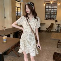 Dress Summer 2021 Apricot Average size Mid length dress singleton  Short sleeve commute V-neck High waist Broken flowers zipper Ruffle Skirt routine Others 18-24 years old Type A Other / other Korean version Lotus leaf edge 0324g 30% and below