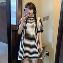 Women's large Summer 2020 Black and white stripes, blue and white stripes Large L, large XL, m, 2XL, 3XL, 4XL Dress singleton  Sweet easy moderate Socket Short sleeve stripe Crew neck other other Yijinyu 30% and below Medium length other college