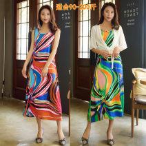 Dress Summer 2021 Green pattern, red pattern L pattern skirt, XL pattern skirt, 2XL pattern skirt, 3XL pattern skirt longuette singleton  middle-waisted Socket Big swing