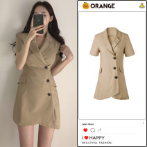 Dress Summer 2021 Khaki, black S,M,L,XL Short skirt singleton  Short sleeve commute tailored collar High waist Solid color Three buttons Irregular skirt routine Others 18-24 years old Type A Retro Pocket, button 81% (inclusive) - 90% (inclusive)