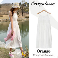 Dress Summer 2020 white S,M,L,XL Mid length dress singleton  Sleeveless Sweet square neck Elastic waist Solid color Socket A-line skirt camisole 18-24 years old Type A Bow, fold, lace, stitching, thread, strap, lace