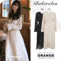 Dress Autumn of 2019 Black, beige S,M,L,XL Mid length dress singleton  Long sleeves commute V-neck High waist Broken flowers Three buttons A-line skirt pagoda sleeve Others 18-24 years old Type A Other / other Korean version Print, zipper