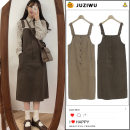 Dress Spring of 2019 Khaki, coffee S,M,L,XL Mid length dress singleton  Sleeveless Sweet One word collar High waist Solid color Single breasted One pace skirt other straps 18-24 years old Type H Other / other Pockets, straps, buttons college