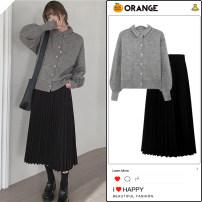 skirt Winter 2020 S,M,L,XL Black skirt, apricot skirt, grey sweater, khaki sweater Mid length dress Versatile High waist Pleated skirt Solid color 18-24 years old