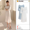 Dress Summer 2020 White, blue S,M,L,XL Mid length dress singleton  commute square neck High waist Solid color zipper A-line skirt routine Type A Other / other Korean version Bow, zipper