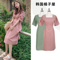 Dress Summer of 2019 Pink, yellow, green S,M,L,XL Mid length dress singleton  Short sleeve Sweet square neck High waist lattice zipper A-line skirt puff sleeve Others 18-24 years old Type A Other / other Bowknot, ruffle, lace, bandage college