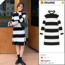 Dress Winter 2020 Black and white stripes Average size Short skirt singleton  Long sleeves commute Crew neck High waist stripe Socket other Others 18-24 years old Type A Korean version Panel, zipper More than 95% other