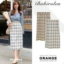 skirt Autumn of 2019 S,M,L,XL Apricot Lange, khaki coffee Mid length dress Versatile High waist A-line skirt lattice Type A 18-24 years old Other / other Panel, zipper