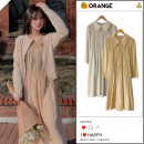 Dress Autumn 2020 Light apricot, goose yellow S,M,L,XL longuette singleton  Long sleeves commute Polo collar High waist Solid color zipper A-line skirt puff sleeve Others 18-24 years old Type A Korean version Pleating Chiffon