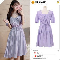 Dress Summer 2020 White, violet S,M,L,XL Mid length dress singleton  Short sleeve commute Crew neck High waist Solid color A-line skirt Others 18-24 years old Type A Korean version Bowknot, tuck, fold, lace, stitching, ruffle, Auricularia auricula