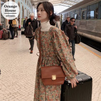 Dress Autumn 2020 Picture color S,M,L Mid length dress singleton  Long sleeves commute square neck High waist Decor Socket A-line skirt puff sleeve 18-24 years old Type A Other / other Korean version Bow, tie, print 51% (inclusive) - 70% (inclusive)