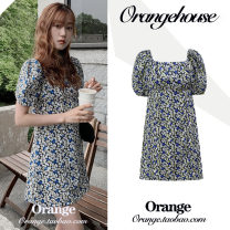 Dress Summer 2020 Picture color S,M,L,XL Short skirt singleton  Short sleeve commute square neck High waist Broken flowers zipper A-line skirt other Others 18-24 years old Type A Korean version printing Chiffon
