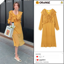 Dress Autumn 2020 Yellow, black S,M,L,XL Mid length dress singleton  Long sleeves commute V-neck High waist Solid color A-line skirt routine 18-24 years old Korean version Bow, ruffle, fold, Auricularia auricula, lace, stitching Chiffon
