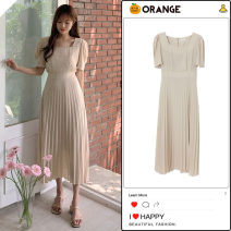 Dress Summer 2020 Picture color S,M,L,XL Mid length dress singleton  Short sleeve Sweet square neck High waist Solid color zipper Pleated skirt routine Others 18-24 years old Type A Bow tie other other college