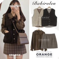 Fashion suit Winter of 2019 S. M, l, XL, one size fits all Skirt, shirt coffee, vest coffee, vest apricot, three piece set 18-25 years old Other / other