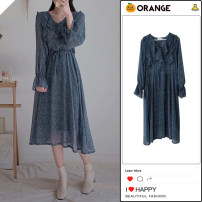 Dress Spring 2021 blue S,M,L,XL Mid length dress singleton  Long sleeves commute V-neck High waist Broken flowers Socket A-line skirt Lotus leaf sleeve Others 18-24 years old Type A Retro Bow, Ruffle 81% (inclusive) - 90% (inclusive) Chiffon