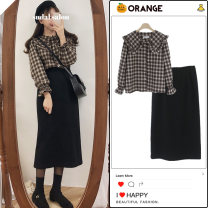 skirt Winter 2020 S,M,L,XL Mid length dress commute High waist A-line skirt Solid color Type A 18-24 years old cotton Fold, zip, splice Korean version