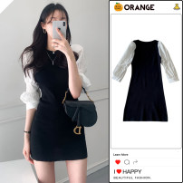 Dress Spring 2021 black S,M,L Short skirt singleton  elbow sleeve commute Crew neck High waist Solid color Pencil skirt other Others 18-24 years old Type X Korean version Ruffles, ruffles other