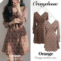 Dress Spring 2020 Orange flowers on black background, red flowers on apricot background S,M,L,XL Short skirt singleton  Long sleeves commute V-neck High waist Broken flowers zipper A-line skirt routine Others 18-24 years old Type A Korean version Button, print, lace up other