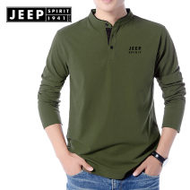T-shirt Youth fashion routine Jeep / Jeep Long sleeves V-neck standard daily autumn Cotton 95% polyurethane elastic fiber (spandex) 5% youth routine tide Sweat cloth 2021 Solid color Embroidered logo Cotton ammonia Brand logo No iron treatment International brands