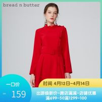 Dress Spring of 2019 gules P/160XS,0/165S,1/170M,2/175L Middle-skirt singleton  Long sleeves Sweet stand collar High waist Solid color zipper other other Others 25-29 years old Type A bread n butter 8WB0BNBDRSW855020 91% (inclusive) - 95% (inclusive) other Ruili
