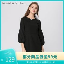 Dress Summer of 2018 black P/160XS,0/165S,1/170M,2/175L Middle-skirt singleton  three quarter sleeve Sweet Crew neck Solid color A-line skirt bishop sleeve 25-29 years old bread n butter 71% (inclusive) - 80% (inclusive) polyester fiber Ruili