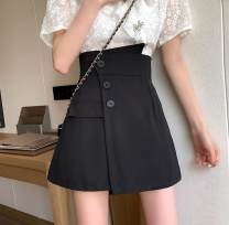 skirt Summer 2020 M,L,XL,2XL,3XL,4XL Black, white, decorative skirt pants Short skirt commute High waist A-line skirt Solid color Type A Three dimensional decoration, asymmetry, button Korean version