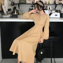 Dress Autumn of 2018 Brick red Khaki black S M L Mid length dress singleton  Long sleeves commute V-neck High waist Solid color Socket A-line skirt bishop sleeve Others 18-24 years old Type A Korean version ninety-eight thousand nine hundred and ninety-nine