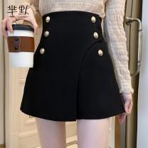 skirt Winter 2020 S,M,L,XL Black, collect and give gifts Short skirt commute High waist A-line skirt Type A Wool Korean version