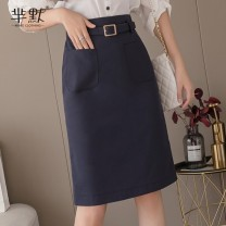 skirt Summer 2020 S,M,L,XL,2XL Mid length dress Natural waist other polyester fiber pocket