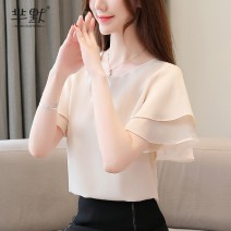 Lace / Chiffon Summer of 2019 Apricot, white, 8678 black, 8678 green, 8678 white S,M,L,XL,2XL Short sleeve commute Socket singleton  Straight cylinder Super short Crew neck Solid color Pile sleeve 25-29 years old Korean version