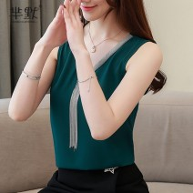 Lace / Chiffon Summer of 2019 White, green, black S,M,L,XL,2XL Sleeveless commute Socket singleton  Straight cylinder Super short V-neck Solid color routine 25-29 years old tassels Korean version 81% (inclusive) - 90% (inclusive) polyester fiber