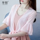 Lace / Chiffon Summer of 2018 S. M, l, XL, 2XL, 3XL, collect and give gifts elbow sleeve Versatile Cardigan singleton  easy have cash less than that is registered in the accounts V-neck Solid color pagoda sleeve Lace up, splice, strap 31% (inclusive) - 50% (inclusive) polyester fiber