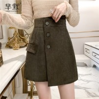 skirt Winter 2020 S,M,L,XL Apricot, gray, green, black, coffee, collect and give gifts [don't choose this] Short skirt commute High waist Irregular 1329 five colors Korean version
