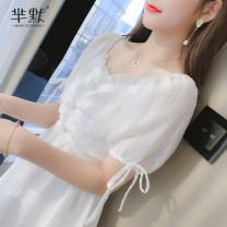 Dress Summer 2020 White, collect and give gifts S,M,L,XL Miniskirt singleton  Short sleeve commute Lotus leaf collar High waist Solid color zipper A-line skirt routine Others Korean version 31% (inclusive) - 50% (inclusive) Chiffon
