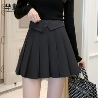 skirt Winter 2020 S,M,L,XL Gray, black, coffee, collect and give gifts [don't choose this] Short skirt commute High waist Pleated skirt Korean version