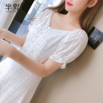 Dress Summer 2020 White, purple, collect and give gifts S,M,L,XL,2XL Middle-skirt singleton  Short sleeve commute middle-waisted lattice zipper Others 91% (inclusive) - 95% (inclusive) Chiffon cotton