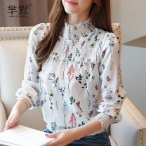 Lace / Chiffon Autumn of 2019 white S,M,L,XL,2XL Long sleeves commute Socket singleton  easy Super short High collar Decor routine 25-29 years old Other / other Patch, tie, splice lady 96% and above