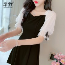 Dress Summer 2020 Black, collect and give gifts S,M,L,XL Short skirt singleton  Short sleeve commute square neck High waist Socket A-line skirt Others Type A lady 81% (inclusive) - 90% (inclusive) brocade cotton
