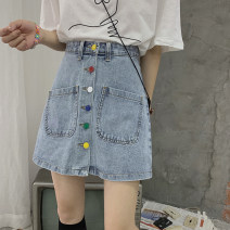 skirt Spring 2021 S,M,L blue Short skirt commute High waist A-line skirt Solid color Type A 18-24 years old 31% (inclusive) - 50% (inclusive) other Other / other other Pocket, button Korean version