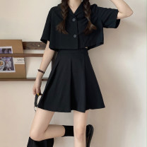 shirt Black top, black skirt S,M,L Summer 2021 other 31% (inclusive) - 50% (inclusive) Short sleeve commute Short style (40cm < length ≤ 50cm) other Single row multi button routine Solid color 18-24 years old High waist type Korean version