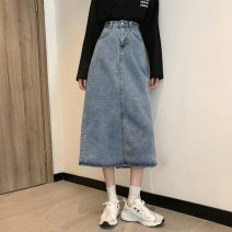 skirt Spring 2021 S,M,L Blue, black Mid length dress commute High waist A-line skirt Solid color Type A 18-24 years old 31% (inclusive) - 50% (inclusive) other pocket Korean version