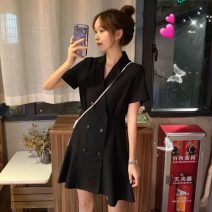 Dress Spring 2021 black S,M,L Mid length dress singleton  Short sleeve commute V-neck High waist Solid color double-breasted A-line skirt routine 18-24 years old Type A Korean version Button 31% (inclusive) - 50% (inclusive) other other