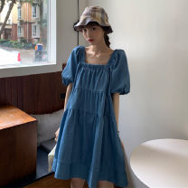 Dress Summer 2021 blue Average size Middle-skirt singleton  Short sleeve commute square neck Loose waist Solid color Socket other puff sleeve Others 18-24 years old Type A Korean version 31% (inclusive) - 50% (inclusive) other