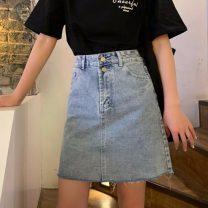 skirt Summer 2021 S,M,L blue Short skirt commute High waist Denim skirt Solid color Type A 18-24 years old 31% (inclusive) - 50% (inclusive) Korean version