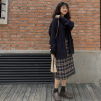 Fashion suit Spring 2021 Average size Navy blue sweater, coat, skirt, elastic waist 18-25 years old Other / other 31% (inclusive) - 50% (inclusive)